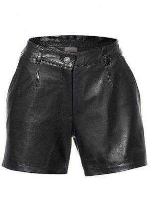 Кожаные шорты PATRIZIA DINI. Цвет: коньячный, черный
