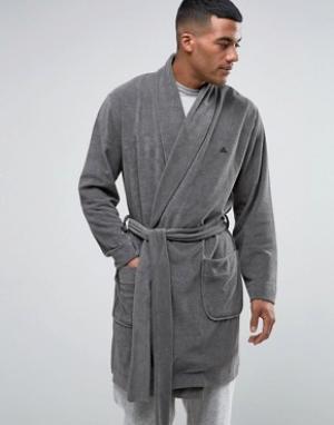 ASOS Махровый халат с логотипом. Цвет: серый