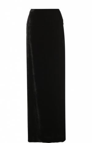 Бархатная юбка-макси с высоким разрезом Dries Van Noten. Цвет: черный