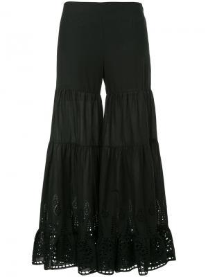 Расклешенные брюки с ажурной вышивкой Goen.J. Цвет: чёрный