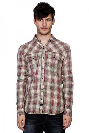 Рубашка в клетку  Sixpack Black Krew. Цвет: серый,бежевый