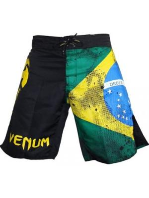 Шорты ММА Venum Fight  Brazilian Flag. Цвет: желтый, черный, зеленый
