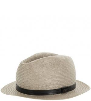 Бежевая бумажная шляпа Emporio Armani. Цвет: бежевый