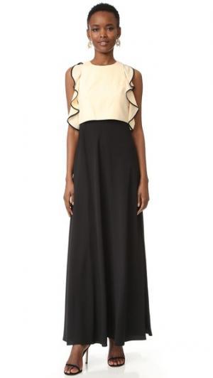 Вечернее платье с оборчатой отделкой Jill Stuart. Цвет: бисквитный/черный
