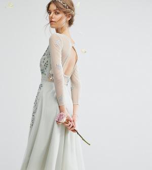 Amelia Rose Платье миди с длинными рукавами, открытой спиной и отделкой Ros. Цвет: зеленый
