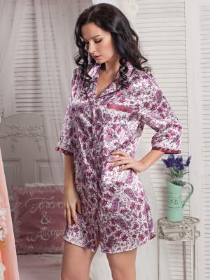 Сорочка MIA-AMORE. Цвет: белый, бордовый