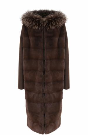 Пальто из смеси шерсти и кашемира с меховой отделкой Yves Salomon. Цвет: коричневый