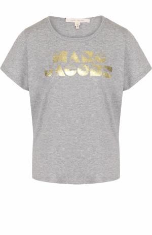Хлопковая футболка прямого кроя с круглым вырезом Marc Jacobs. Цвет: серый