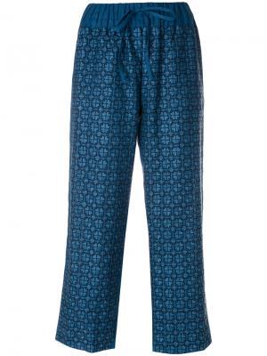 Укороченные брюки с вышивкой Vita Kin. Цвет: синий