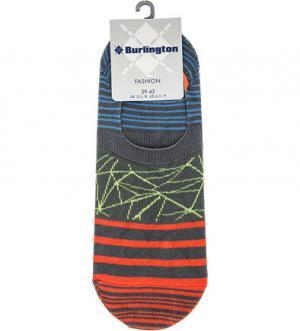 Хлопковые носки в полоску Burlington. Цвет: серый