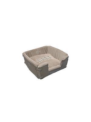 Корзина раскладная CAT LIFESTYLE серо-коричневый 48*48*18 см для кошек Happy House. Цвет: серо-коричневый