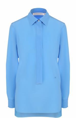 Шелковая блуза прямого кроя с удлиненной спинкой Victoria Beckham. Цвет: синий