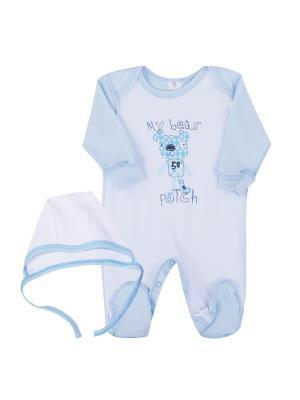 Комплект одежды: комбинезон, чепчик Коллекция Новые друзья КОТМАРКОТ. Цвет: голубой, белый