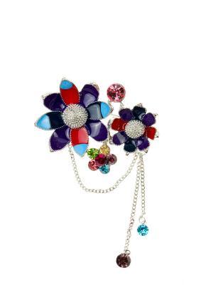 Брошь Bijoux Land. Цвет: серебристый, фиолетовый, красный, голубой