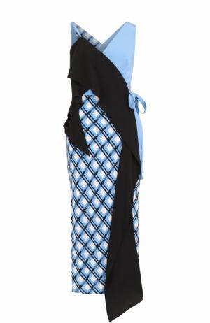 Шелковое платье асимметричного кроя с запахом Diane Von Furstenberg. Цвет: разноцветный