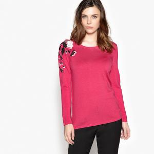 Пуловер с круглым вырезом и вышивкой ANNE WEYBURN. Цвет: фуксия