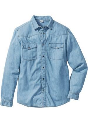 Джинсовая рубашка зауженного покроя (нежно-голубой) bonprix. Цвет: нежно-голубой