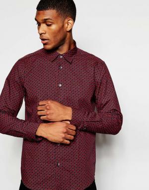Wincer & Plant Строгая рубашка слим с принтом сердец. Цвет: черный