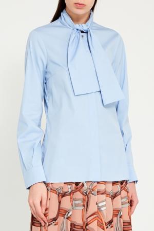 Голубая блузка с пришивным шарфом Gucci. Цвет: голубой