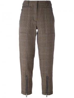 Укороченные брюки в ломаную клетку 3.1 Phillip Lim. Цвет: коричневый