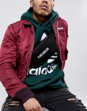 ASOS Черная сумка-кошелек на пояс с вышивкой Blind Horizon. Цвет: черный