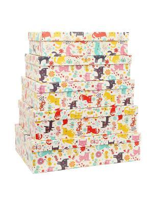 Коробка картонная, набор из 5 шт. 32х20х8 - 40х28х10 см. Котята и абстракция. VELD-CO. Цвет: голубой, белый, малиновый