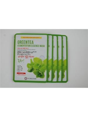 Набор тканевых масок c зеленым чаем, 20гр*5 шт. NOBLESSE. Цвет: белый