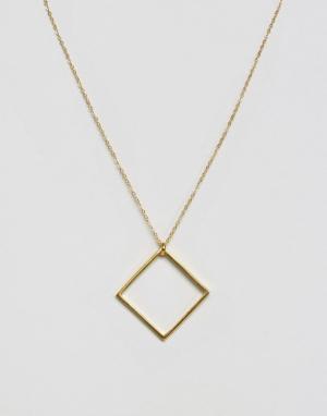 Ottoman Hands Ожерелье с квадратной подвеской. Цвет: золотой