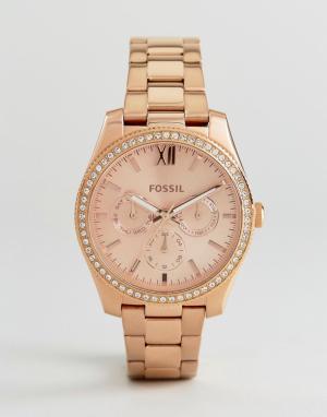 Fossil Розово-золотистые часы-браслет ES4315 Scarlette. Цвет: золотой