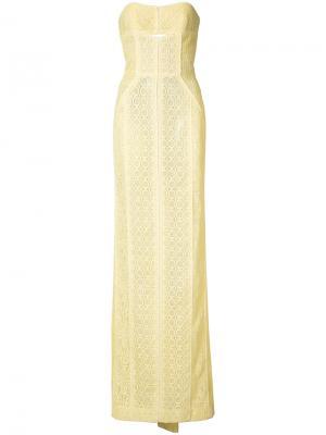 Кружевное вечернее платье J. Mendel. Цвет: жёлтый и оранжевый