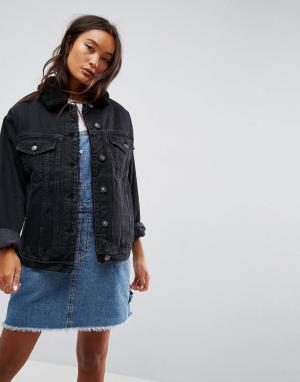 ASOS Черная выбеленная джинсовая куртка с воротником борг. Цвет: черный