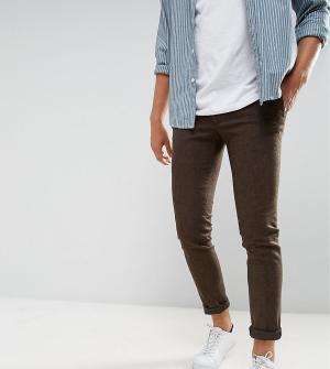 Heart & Dagger Супероблегающие строгие брюки из эластичного твида. Цвет: коричневый