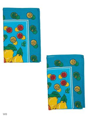 Набор полотенец вафельных кухонных Римейн. Цвет: голубой, желтый
