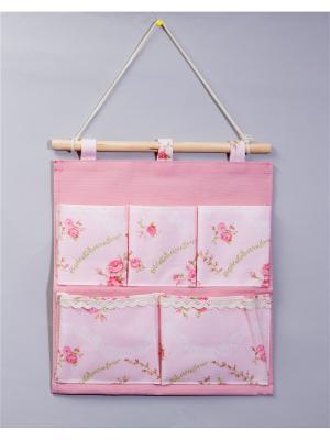 Органайзер с 5 карманамми настенный Русские подарки. Цвет: розовый, белый