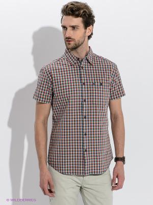 Рубашка Wrangler. Цвет: оранжевый, белый, синий