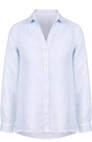 Однотонная льняная блуза 120% Lino. Цвет: голубой