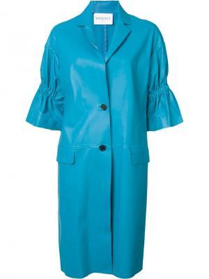Пальто с присборенными рукавами Vionnet. Цвет: синий