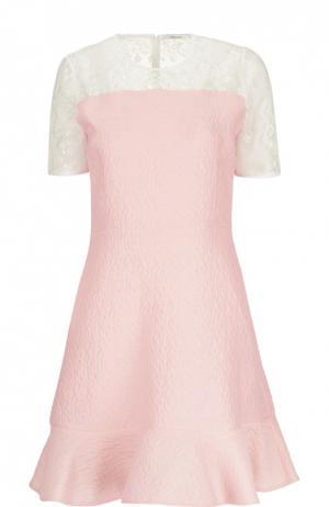 Приталенное расклешенное платье с кружевной вставкой Carven. Цвет: розовый