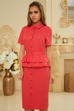 Платье-миди с баской и отложным воротником Vittoria Vicci. Цвет: красный