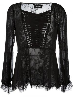Кружевная блузка со шнуровкой The Kooples. Цвет: чёрный