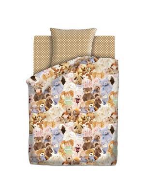 Комплект постельного белья 1,5 бязь Игрушки Непоседа. Цвет: голубой, белый, светло-коричневый