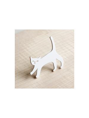 Брошь Кошечка НечегоНадеть. Цвет: белый