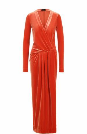 Бархатное платье-макси с драпировкой By Malene Birger. Цвет: красный