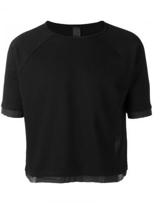 Укороченная футболка Odeur. Цвет: чёрный