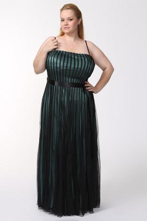 Вечернее платье с поясом Mona Kalin. Цвет: черный, зеленый