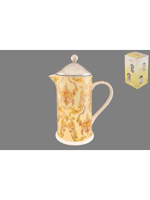 Чайник с поршнем Узор золотой Elan Gallery. Цвет: желтый, золотистый
