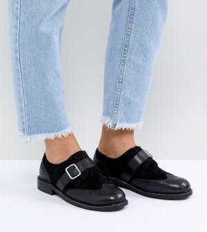 ASOS Кожаные туфли на плоской подошве для широкой стопы VIBES. Цвет: черный