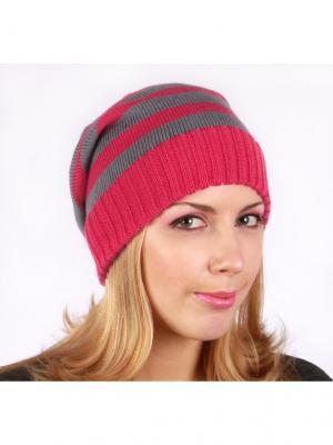 Полосатая шапка Непростые вещи. Цвет: серый, фуксия