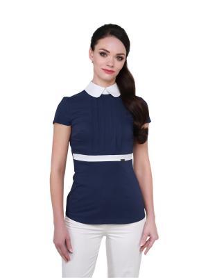 Блузка BLAUZ. Цвет: темно-синий, белый