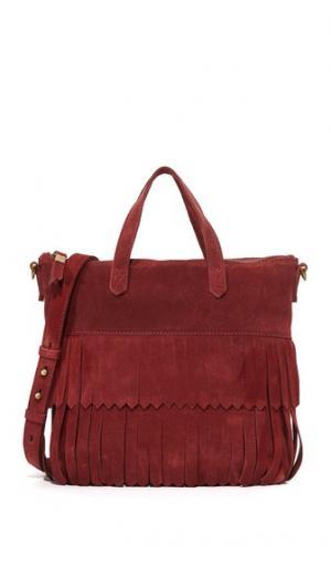 Маленькая замшевая объемная сумка Transport с короткими ручками и бахромой Madewell